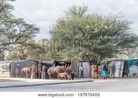 OKAHANDJA NAMIBIA - JUNE 19 2017: Woodcarving stalls in Okahandja in the Otjozondjupa Region of Namibia