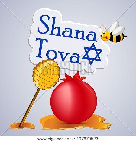 illustration of bee, honey, pomegranate with shana tova text on the occasion of Jewish New Year Shanah Tovah