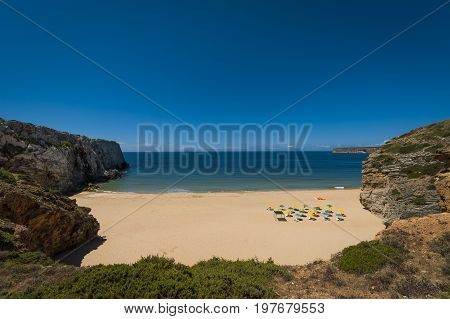 The bay and the Beliche Beach (Praia do Beliche) in Sagres Portugal; Concept for deserted beach and summer vacations in Portugal