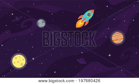 Space flat vector background with rocket spaceship moon Jupiter satellite planets and stars. Space for your text.