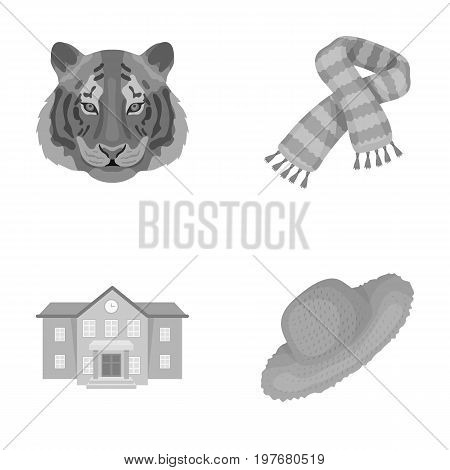 textiles, education, tourism and other  icon in monochrome style.straw, clothing, business, icons in set collection