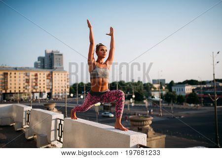 Yoga fitnes training, woman meditating