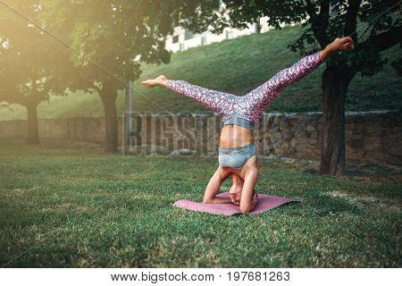 Flexible woman, yoga concentration exercise