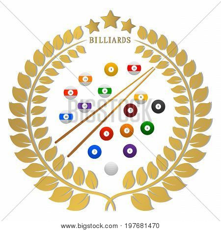 Abstract vector illustration logo game billiards, flying colored balls, snooker cue.