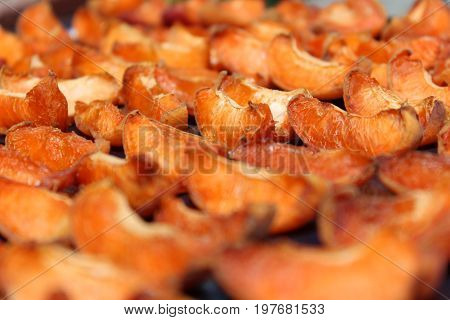 Dried orange apricots cut into slices. Dried apricots