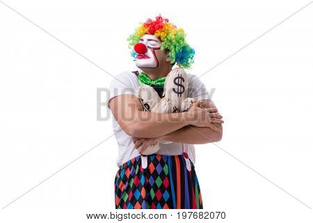 Funny clown with money sacks bags isolated on white background