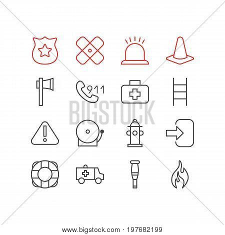 Editable Pack Of Alarm, Badge, Siren And Other Elements.  Vector Illustration Of 16 Emergency Icons.