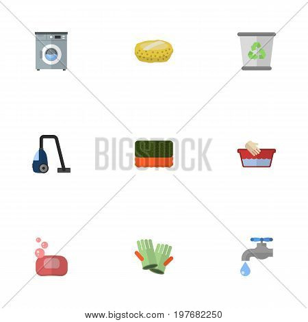 Flat Icons Clothes Washing, Faucet, Garbage Container And Other Vector Elements