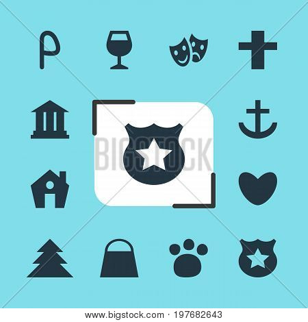 Editable Pack Of Masks, Anchor, Car Park And Other Elements.  Vector Illustration Of 12 Check-In Icons.