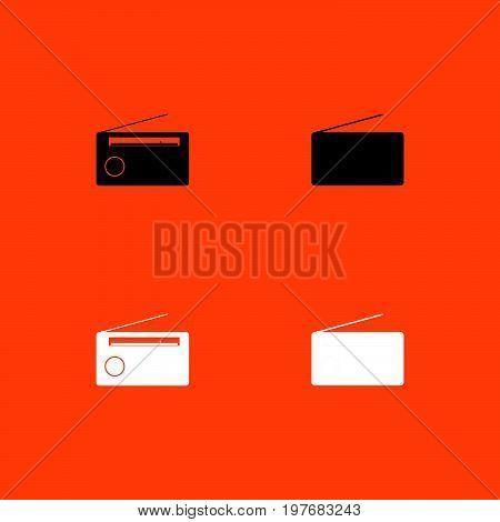 Radio  Black And White Set Icon .