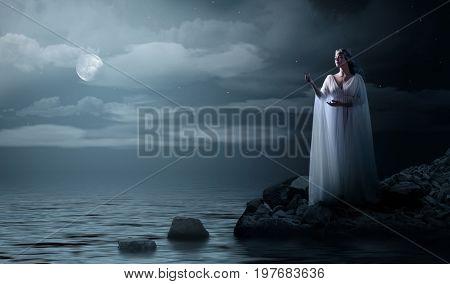 Elven girl on sea coast