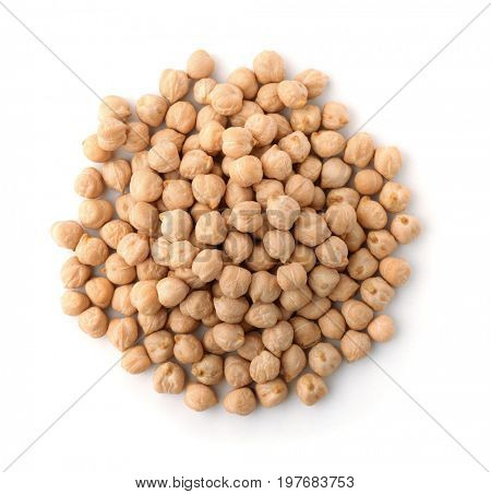 Pile of dried chickpeas isolated on white