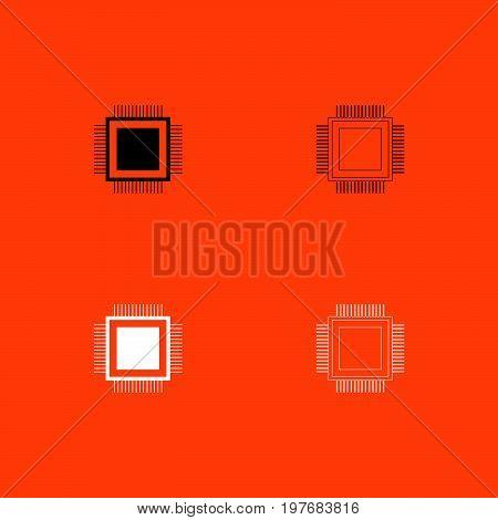 Processor  Black And White Set Icon .