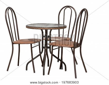 caffe table and chair isolated on white background