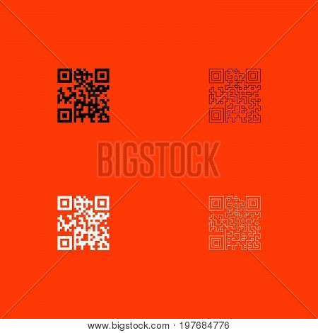 Qr Code  Black And White Set Icon .