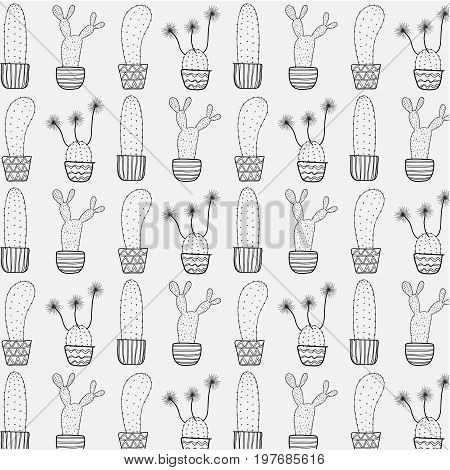 Cactus In A Pot Pattern.	Vector Illustration eps 10.