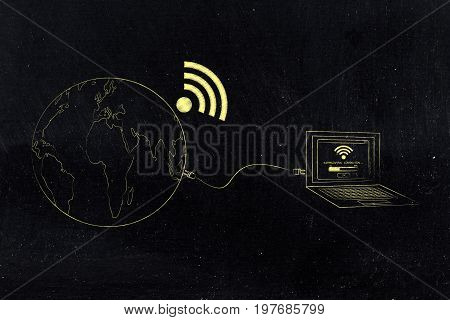 Planet Earth With Wi-fi Symbol Attached To Computer With Establishing Connection Pop-up