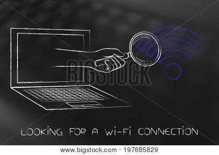 Hand With Magnifying Glass Out Of Laptop Screen Analyzing A Wi-fi Symbol
