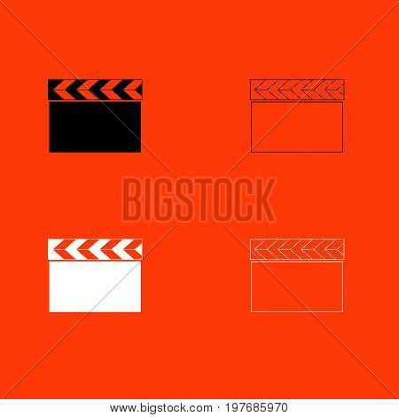 Cinema Clapper  Black And White Set Icon .