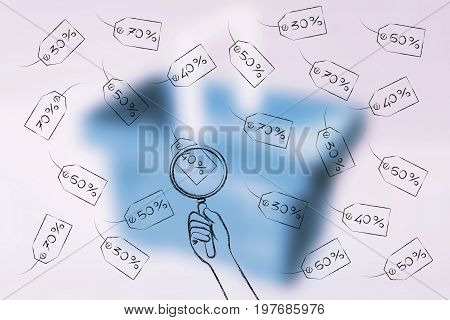 Hand With Magnifying Glass Anaylizing Different Promotional Price Tags With Rebate Percentage