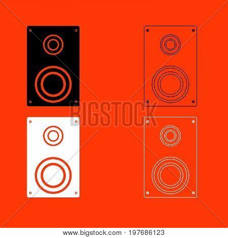 Loud Speaker  Black And White Set Icon .