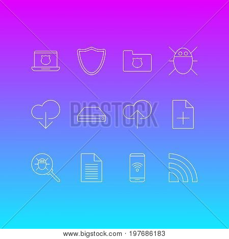 Editable Pack Of Secure Laptop, Document Adding, Data Upload And Other Elements.  Vector Illustration Of 12 Network Icons.