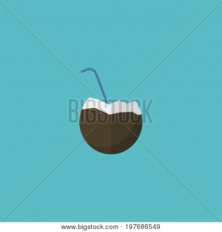 Flat Icon Coconut Drink Element. Vector Illustration Of Flat Icon Cocos Isolated On Clean Background