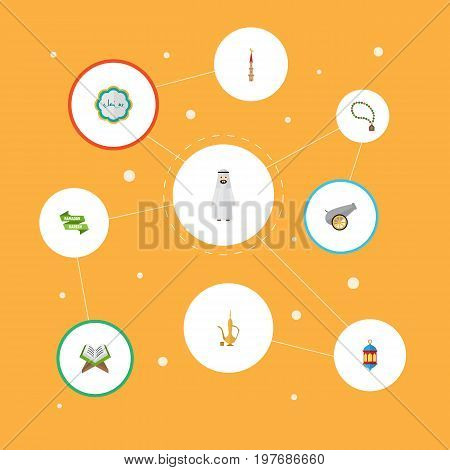 Flat Icons Pitcher, Artillery, Bead And Other Vector Elements