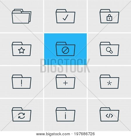 Editable Pack Of Recovery, Plus, Magnifier And Other Elements.  Vector Illustration Of 12 Folder Icons.