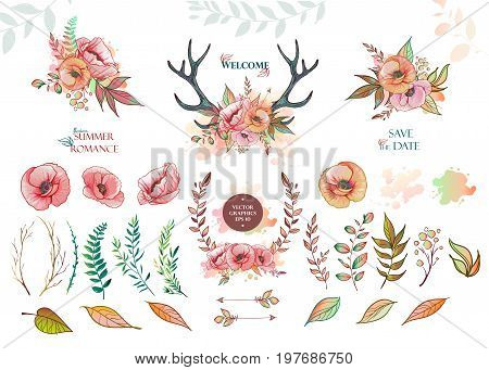 Vector floral set. Colorful summer flower collection with leaves and flowers. Colorful floral collection with flowers four beautiful bouquet. Set of floral elements for your compositions.