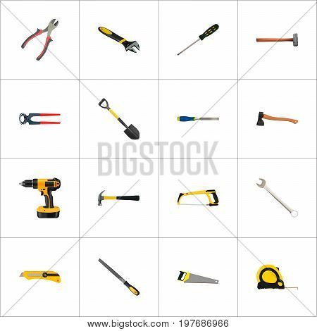 Realistic Spanner, Arm-Saw, Sharpener And Other Vector Elements