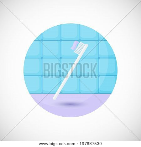 Toothbrush with paste vector flat icon Flat design of bathroom tooth care or oral medicine object in the bathroom interior vector illustration with shadows