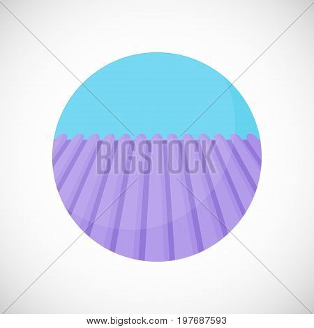 Lavender field vector flat icon Flat design of nature blooming field vector illustration with shadows