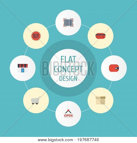 Flat Icons Sign, Case, Qr And Other Vector Elements