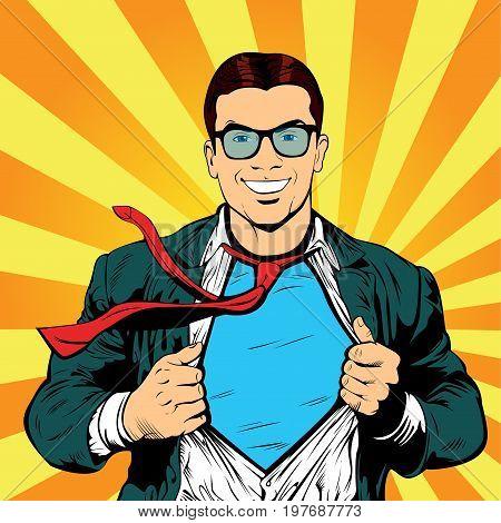 Super hero male businessman pop art retro illustration. Strong Businessman in glasses in comic style. Success concept.