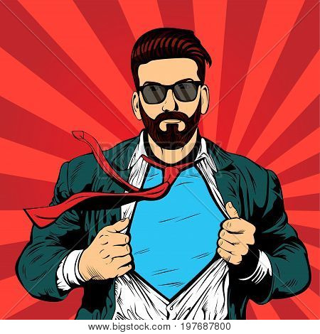 Super hero hipster beard businessman pop art retro illustration. Strong Businessman in glasses in comic style. Success concept.