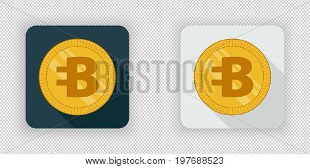 Light and dark crypto currency icon Bytecoin on a transparent background