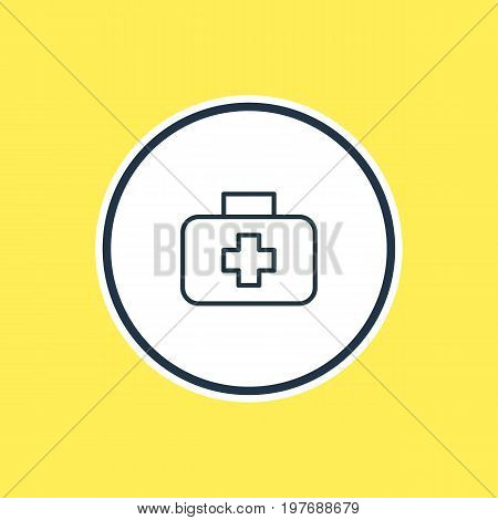 Beautiful Necessity Element Also Can Be Used As Medical Case Element.  Vector Illustration Of First Aid Box Outline.