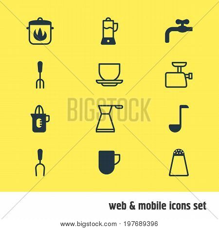 Editable Pack Of Pepper Container, Faucet, Soup Spoon And Other Elements.  Vector Illustration Of 12 Kitchenware Icons.