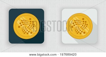 Light and dark crypto currency icon IOTA on a transparent background