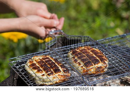 Top view on two grilled slices of homemade halloumi cheese on grill in woman's hands.. Outdoors. Grilling season.