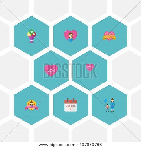 Happy Mother's Day Flat Icon Layout Design With Flower, Best Mother Ever And Sticker Symbols
