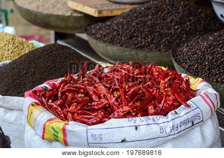 Selling Fried Chilli At Street Market In India