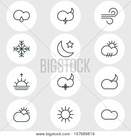 Editable Pack Of Moon Month, Cloudy, Sunlight And Other Elements.  Vector Illustration Of 12 Atmosphere Icons.