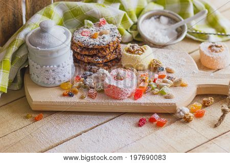 Set Of Rahat Lokum With Candied Peels, Nuts And Sugar Powder