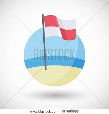 Evacuate the water flag vector flat icon Flat design of quartered red and white warning flag on the beach with round shadow vector illustration