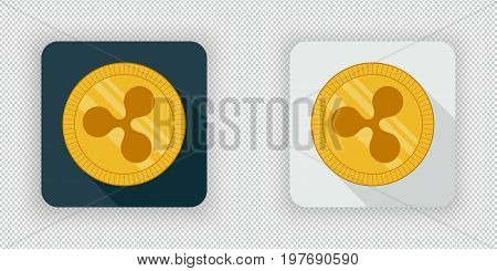 Light and dark crypto currency icon Ripple on a transparent background