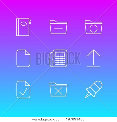 Editable Pack Of Done, Install, Note And Other Elements.  Vector Illustration Of 9 Workplace Icons.