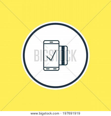 Beautiful Data Element Also Can Be Used As Easy Payment Element.  Vector Illustration Of Mobile Transaction Outline.