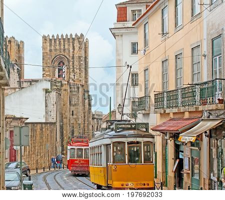 The Trams In Old Lisbon
